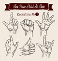Hand drawn sketch set hands gestures. Vector