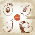 Hand drawn sketch style fruits set. Apricot, peach half with leaf, half pear, apples composition. Eco food vector illustration