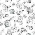 Hand drawn sketch vegetables, Vector pattern mushrooms, olive, pepper, onion isolated on white, Ideal for use in organic food indu