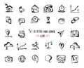 Hand-drawn sketch web icon set - economy, finance, seo, marketing
