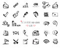 Hand-drawn sketch web icon set - office, economy, seo, marketing