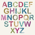 Hand drawn and sketched color rounded font vector sketch style alphabet Royalty Free Stock Photos