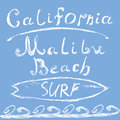 Hand drawn sketched lettering california malibu beach surf sign t shirt printing design typography graphics grungy vector illus Royalty Free Stock Image