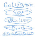 Hand drawn sketched lettering california malibu beach surf sign t shirt printing design typography graphics grungy vector illus Royalty Free Stock Photography