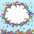 Hand-Drawn Sketchy Cloud Doodle Frame Stock Images
