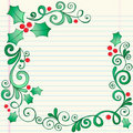Hand-Drawn Sketchy Doodle Christmas Holly Border Royalty Free Stock Photos