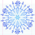 Hand-Drawn Sketchy Doodle Winter Snowflake Stock Photo