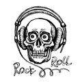 Hand drawn sketchy skull with headphones Royalty Free Stock Photo