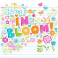 Hand-Drawn Sketchy Spring Time Lettering Doodles Stock Image