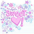 Hand-Drawn Sketchy Sweet Heart Lettering Doodles Royalty Free Stock Photo