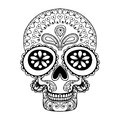 Hand drawn Skull in zentangle style, tribal totem for tattoo, ad Royalty Free Stock Photo
