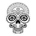Hand Drawn Skull In Zentangle ...