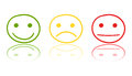 Hand drawn smiley icon on mirror. Emotion face vector illustrati