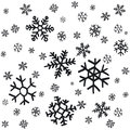 Hand drawn snowflakes Christmas ornaments made from decorative snowflakes vector sketch illustration Christmas background with gre Royalty Free Stock Photo
