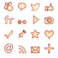 Hand drawn social icons set of vintage style network with reflection Stock Photos