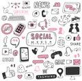 Hand drawn social media doodle set