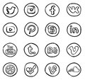 Hand drawn social media icons most popular set or calligraphic style Royalty Free Stock Image