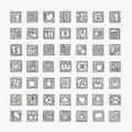 Hand drawn social media network icons.