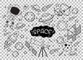 Hand drawn space element doodle on transparent background Royalty Free Stock Photo