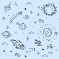 Hand drawn space, galaxy and planets with stars. Vector set or background.