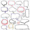 Hand drawn speech bubbles cloud doodle vector set