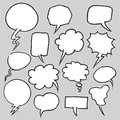 Hand Drawn Speech Bubbles in outline style. Vector Illustration Royalty Free Stock Photo