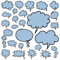Hand Drawn Speech Bubbles and Thought Clouds Design Elements Royalty Free Stock Photo