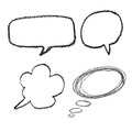 Hand drawn speech bubbles on  watercolor paper isolated on white Royalty Free Stock Photo
