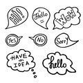 Hand Drawn Speech Bubbles with Words. Doodle Style, Vector illustration. Royalty Free Stock Photo