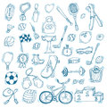 Hand drawn sport icon set. Fitness and sport. Healthy lifestyle Royalty Free Stock Photo