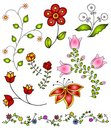 Hand Drawn Spring Flowers Vect...