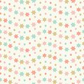 Hand drawn star and spots wavy striped seamless repeat pattern. Sweet pastel coloured vector design ideal for children