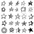 Hand Drawn stars doodles set. Sketch style icons. Decoration element. Isolated on white background. Flat design. Vector