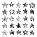 Hand Drawn stars doodles set. Sketch style icons. Decoration element. Isolated on white background. Zentangle design. Vector