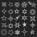 Hand drawn stars. Pen sketch star collection, grunge shine black symbols. Vintage handmade doodle vector set