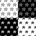 Hand Drawn Stars Vector Seamless Pattern Set
