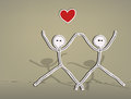 Hand drawn stick figures happy lovers Stock Image