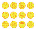 Hand drawn stickers and badges for sunscreen cosmetics