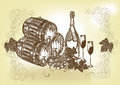 Hand drawn still life with wine and champagne Royalty Free Stock Photo