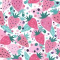 Hand drawn strawberry with leaves and dot seamless pattern