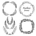 Hand drawn stylized vector frame collection with feathers. Set of ethnic tribal feathers decoration.