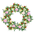 Hand  drawn summer elegant and romantic  flower wreath with pink dahlia, white chamomile Royalty Free Stock Photo