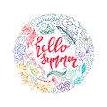 Hand drawn summer themed phrases. Modern style lettering. Hello Summer.