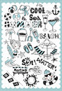 Hand drawn summer vacation set illustration with related words in style and on the grid background all text and illustration is Royalty Free Stock Photos