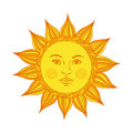 Hand drawn sun with face and eyes. Alchemy, medieval, occult, mystic symbol of sun. Vector illustration.