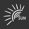 Hand drawn sun icon. Vector illustration isolated on black backg