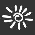 Hand drawn sun icon.