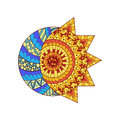 Hand drawn sun, new moon and star for anti stress colouring page. Royalty Free Stock Photo