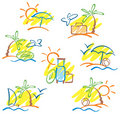 Hand-drawn sun, sea, palms and seagulls Royalty Free Stock Image