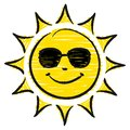 Hand Drawn Sun With Sunglasses Yellow And Black